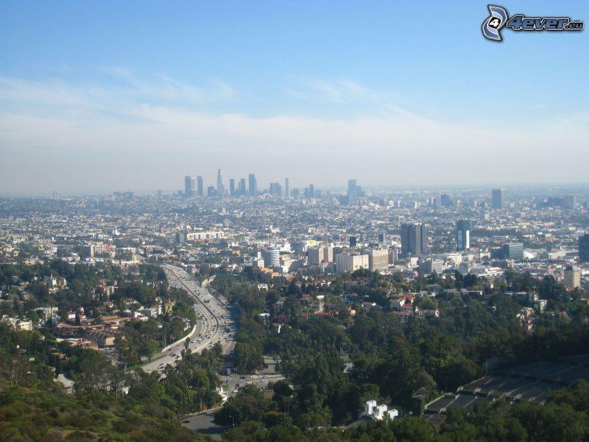 Hollywood Hills, výhľad na mesto, centrum Los Angeles, panoráma, diaľnica, mesto
