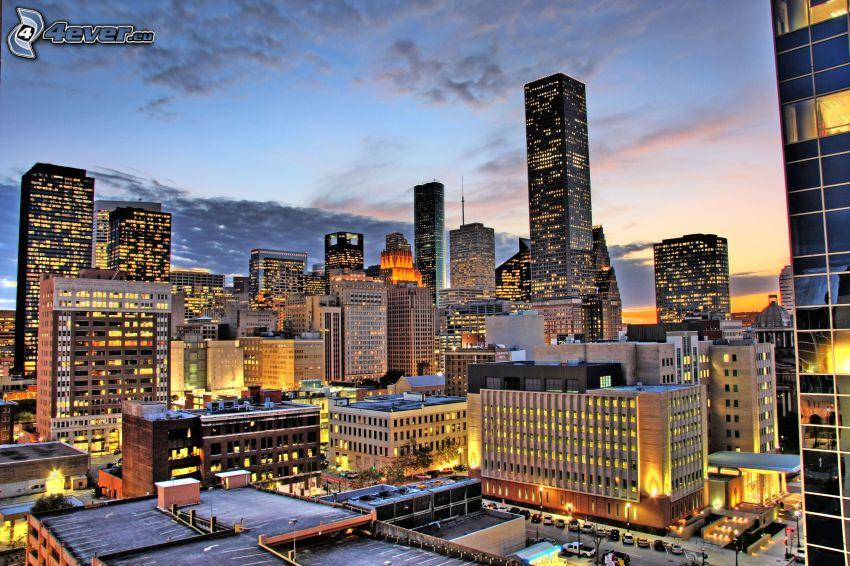 Houston, nočné mesto, mrakodrapy