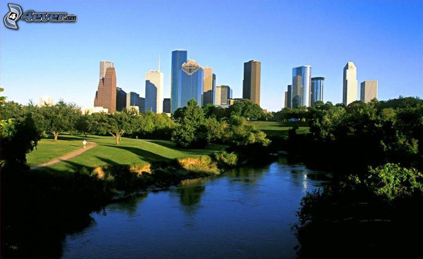 Houston, rieka, park, stromy