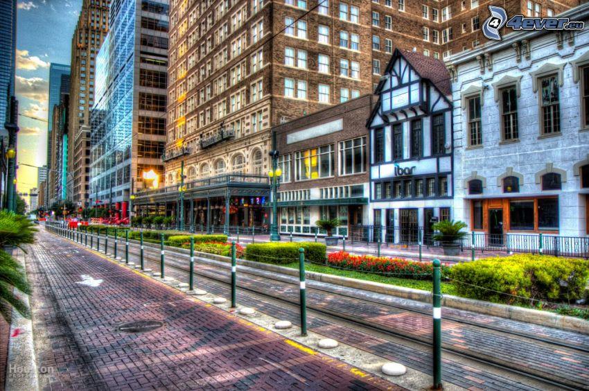 Houston, ulica, električkové koľaje, HDR