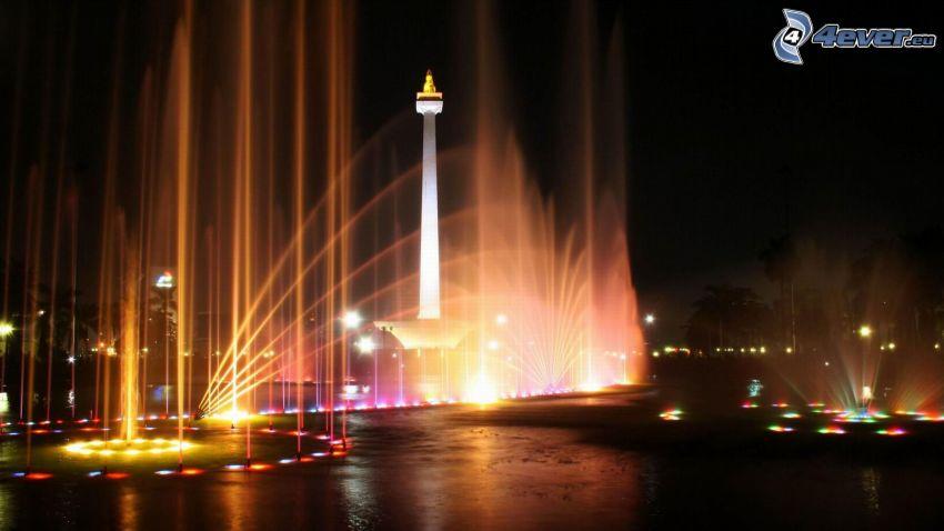 Jakarta, nočné mesto, fontána