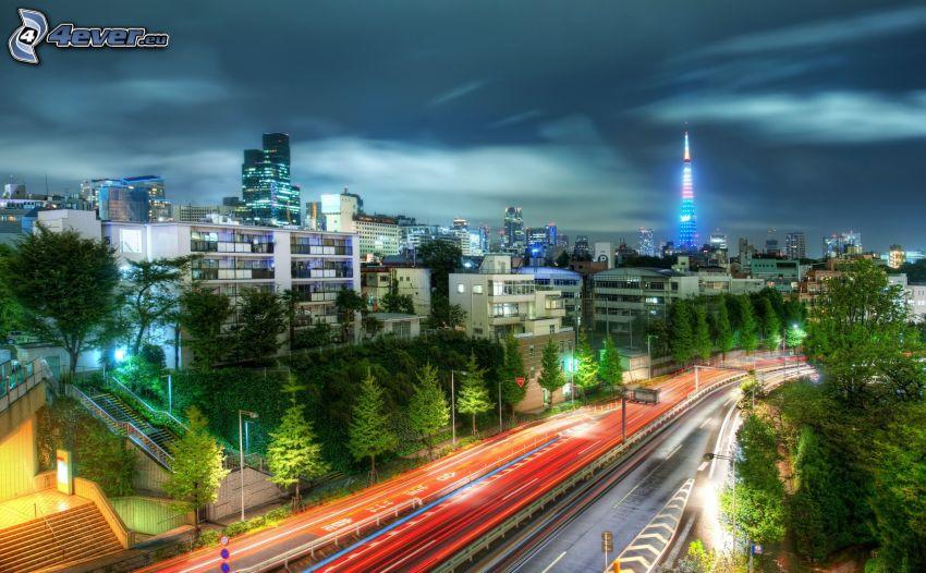 Japonsko, cesta, HDR