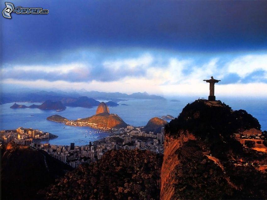 Ježiš v Rio de Janiero, Rio De Janeiro, more, obloha, výhľad na mesto