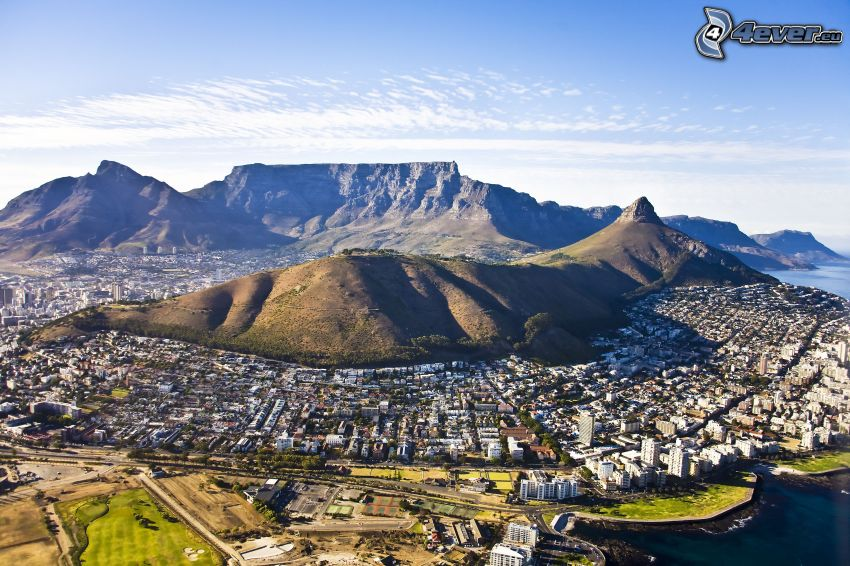 Kapské mesto, prímorské mestečko, pohorie