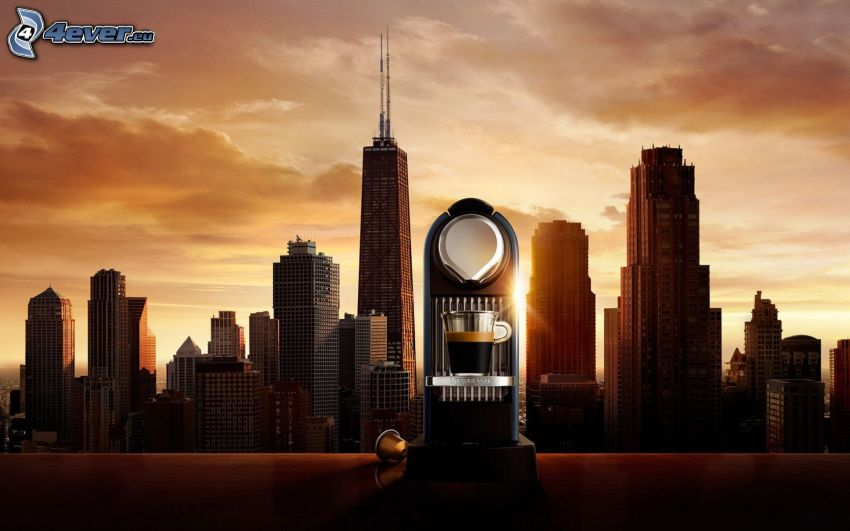 kávovar, Chicago, USA, mrakodrapy, večer