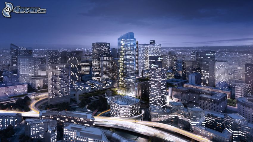 La Défense, mrakodrapy, nočné mesto, Paríž