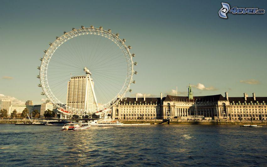 London Eye, Temža, budovy