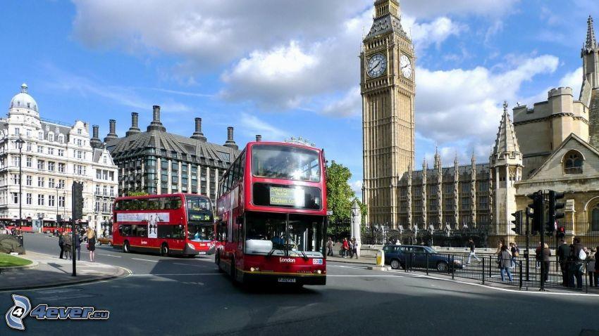 Londýn, Big Ben, autobus