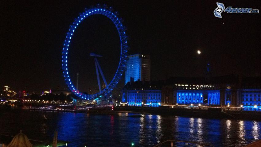 Londýn, nočné mesto, ruské kolo, Temža