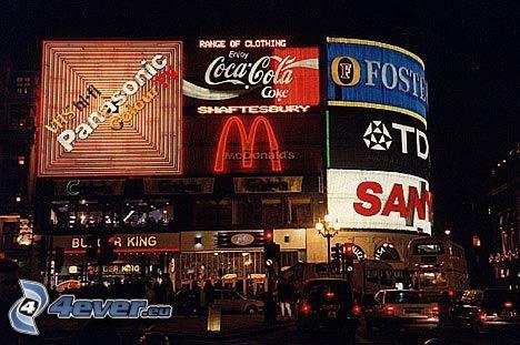 Londýn, reklama, nočné mesto