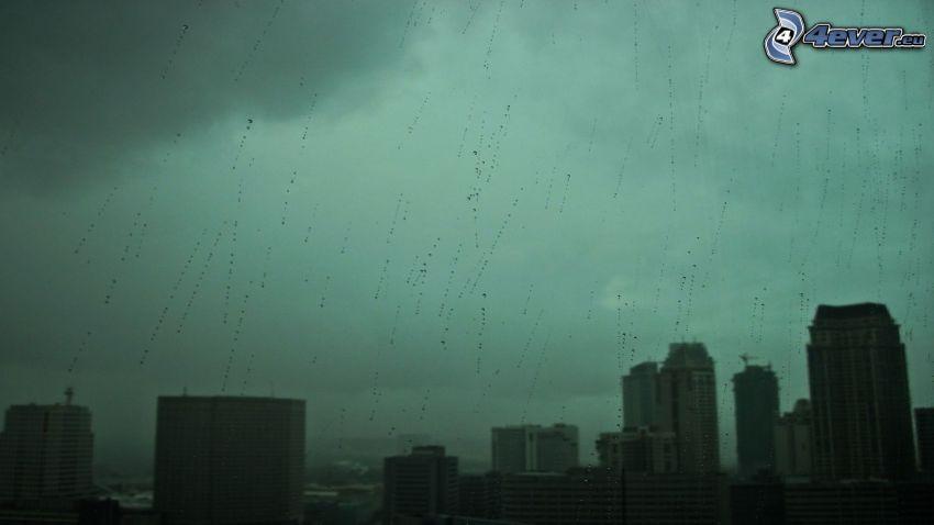 mesto, dážď