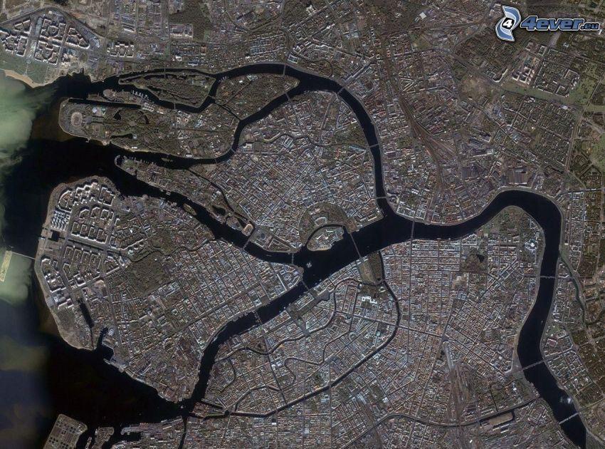 mesto, rieka, satelitný záber