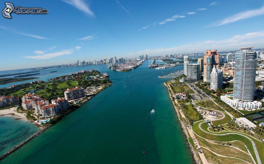 Miami, Florida, more, mrakodrapy, domy