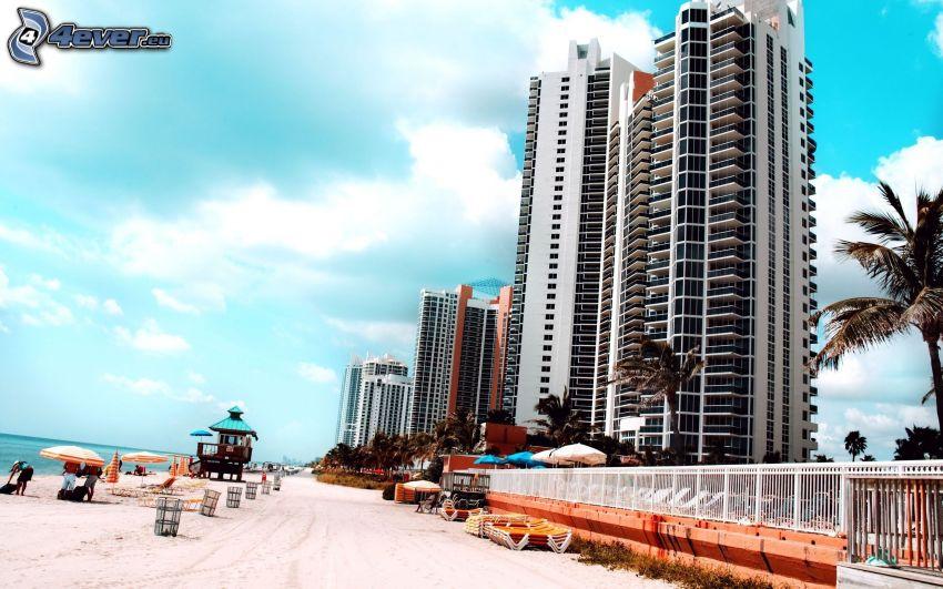 Miami, mrakodrapy, pláž