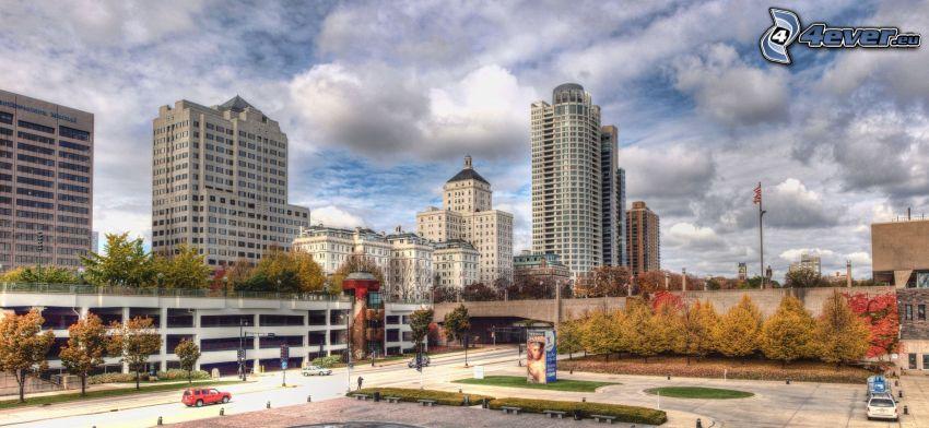 Milwaukee, mrakodrapy, park, oblaky, HDR