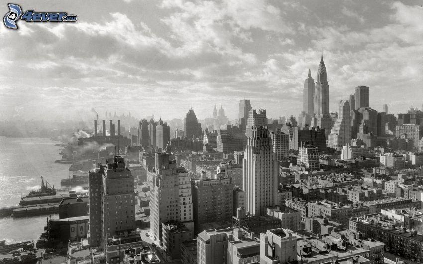 New York, čiernobiela fotka, výhľad na mesto