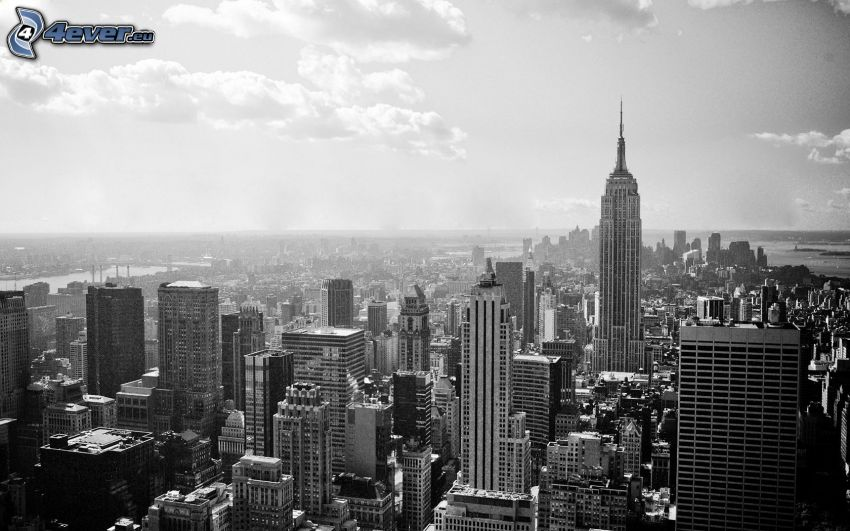 New York, mrakodrapy, čiernobiele