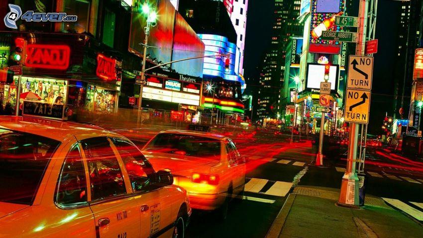 New York, NYC Taxi, nočné mesto