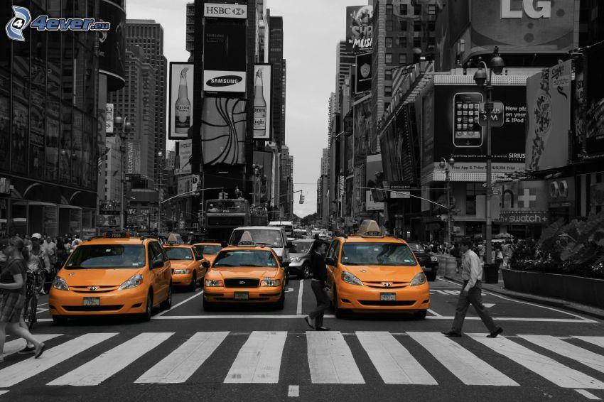 New York, taxi, prechod, ľudia, ulica