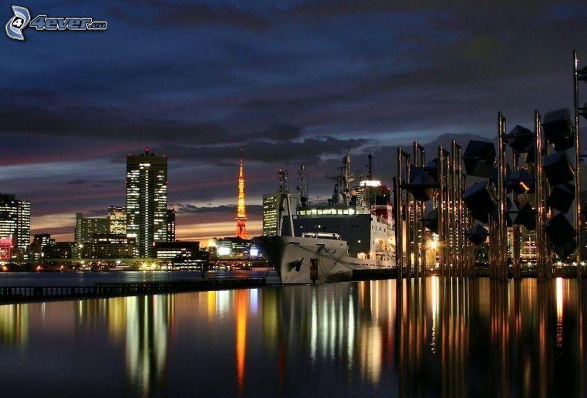 nočné mesto, nákladná loď, Tokyo Tower, Tokio