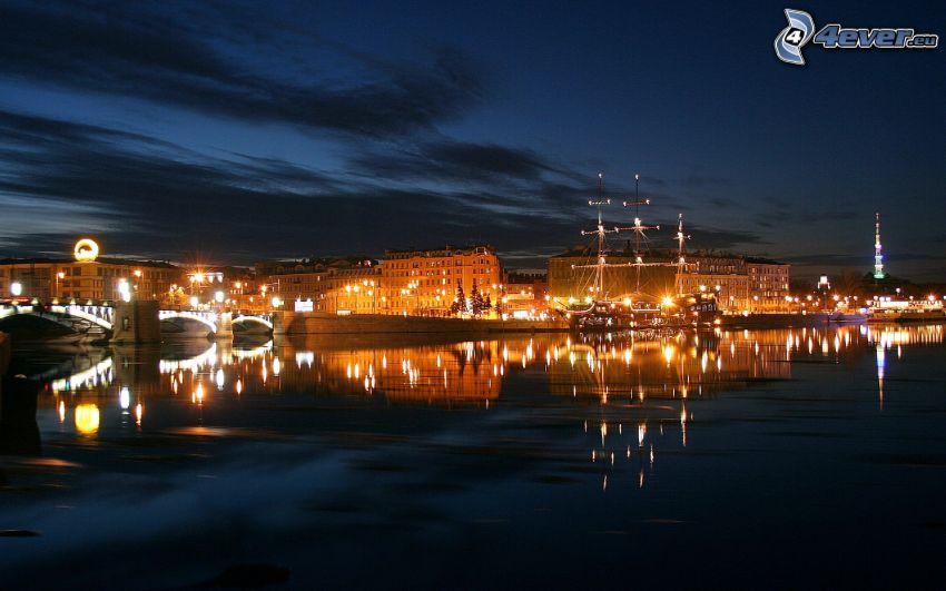 nočné mesto, rieka