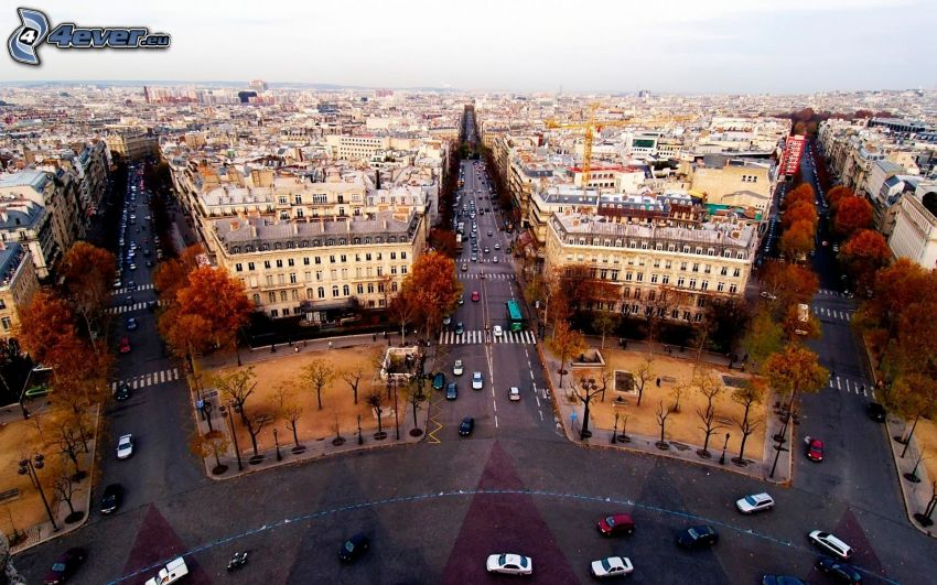 Paríž, Víťazný oblúk, ulice, výhľad na mesto