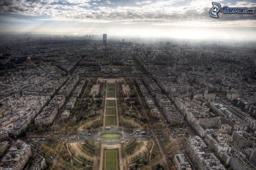 Paríž, výhľad na mesto, park, HDR