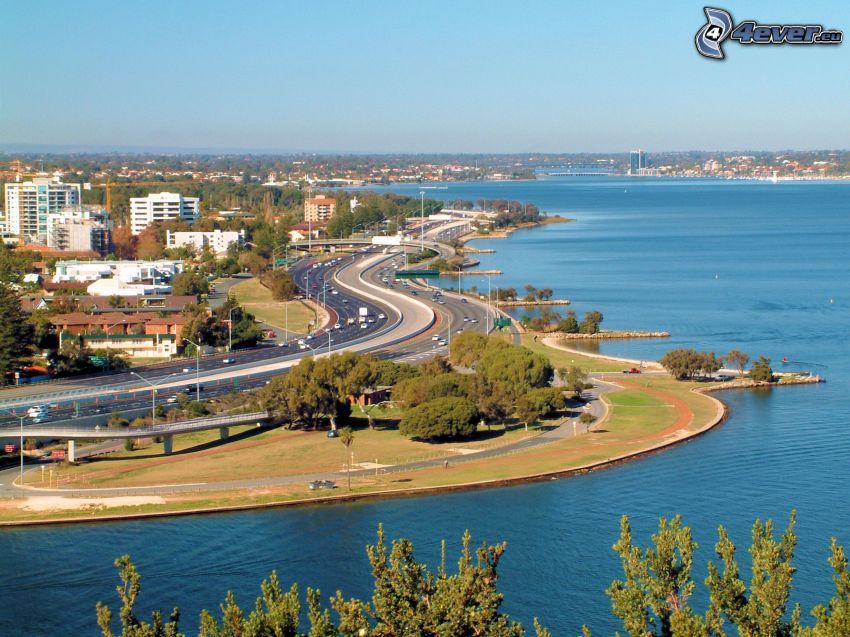 Perth, diaľnica, more