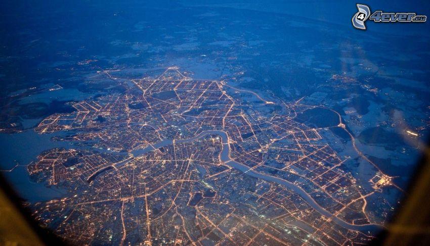 Petrohrad, výhľad na mesto, letecký pohľad, nočné mesto