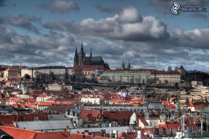 Praha, Pražský hrad, oblaky