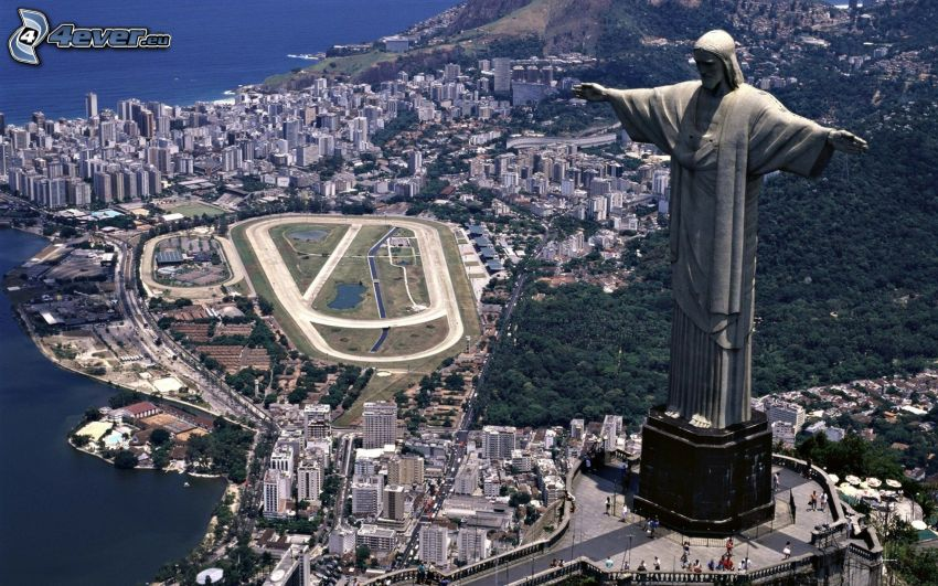 Rio De Janeiro, Brazília, socha, výhľad na mesto