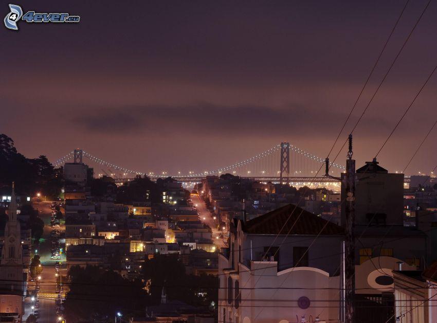 San Francisco, večerné mesto, Bay Bridge