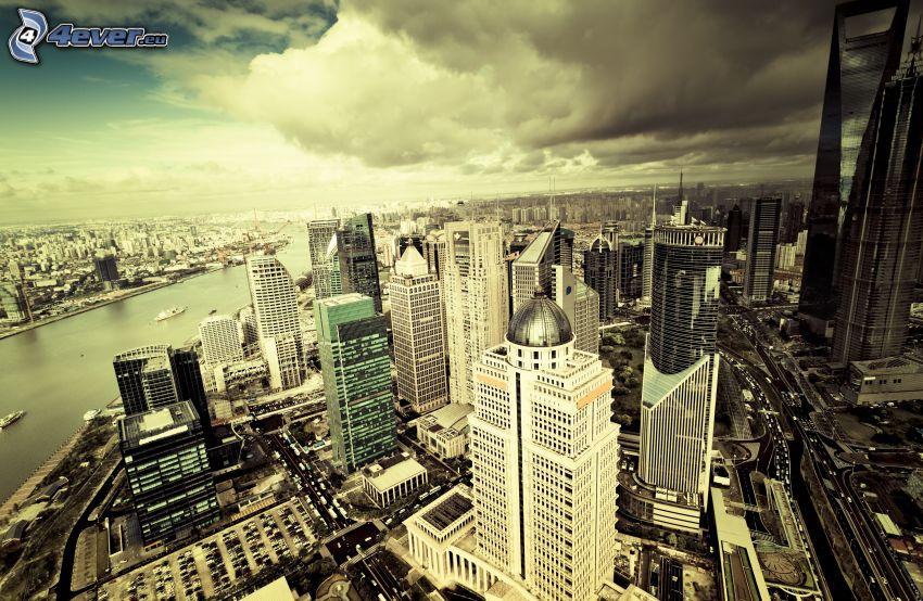 Šanghaj, výhľad na mesto, mrakodrapy, sépia