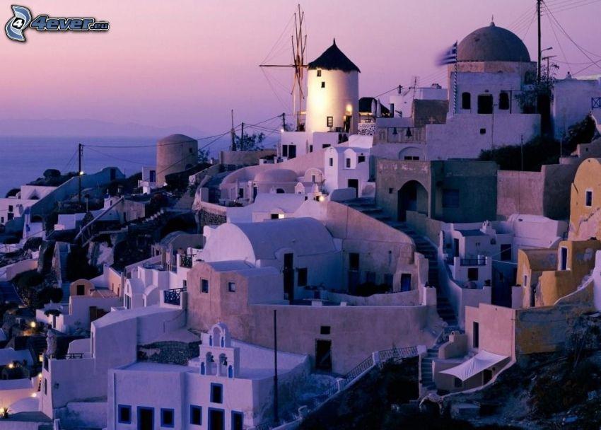 Santorini, Grécko, domy