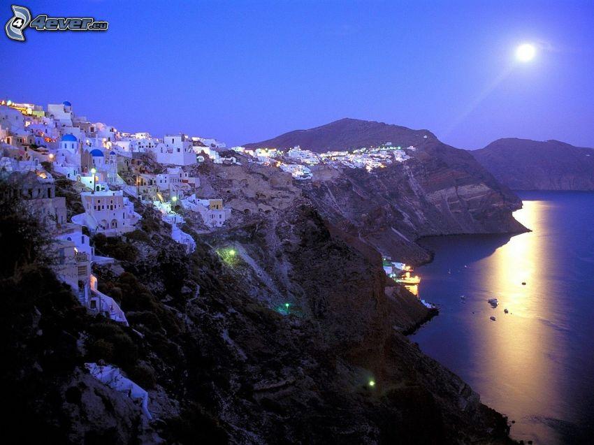 Santorini, Grécko, pobrežné mesto, more, mesiac