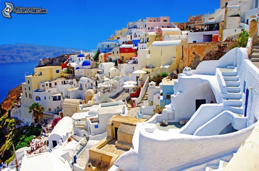 Santorini, Grécko, prímorské mestečko