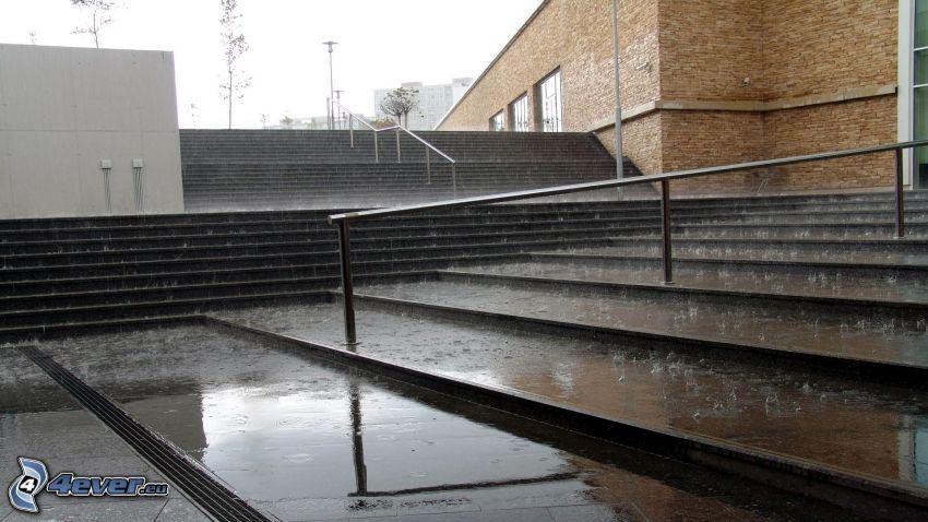 schody, dážď