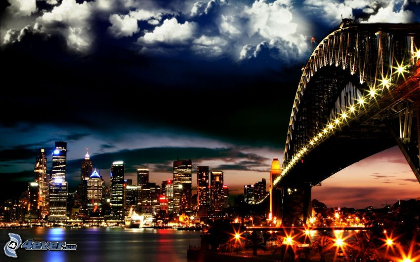 Sydney Harbour Bridge, osvetlený most, nočné mesto, oblaky