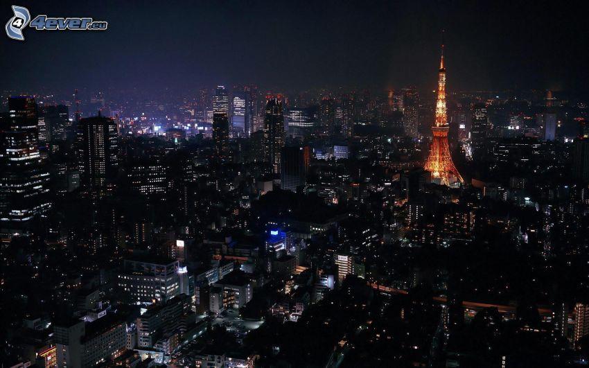 Tokio, nočné mesto, rozsvietená Eiffelova veža