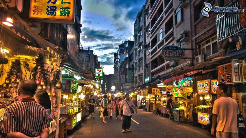 trhovisko, ulica, večerné mesto