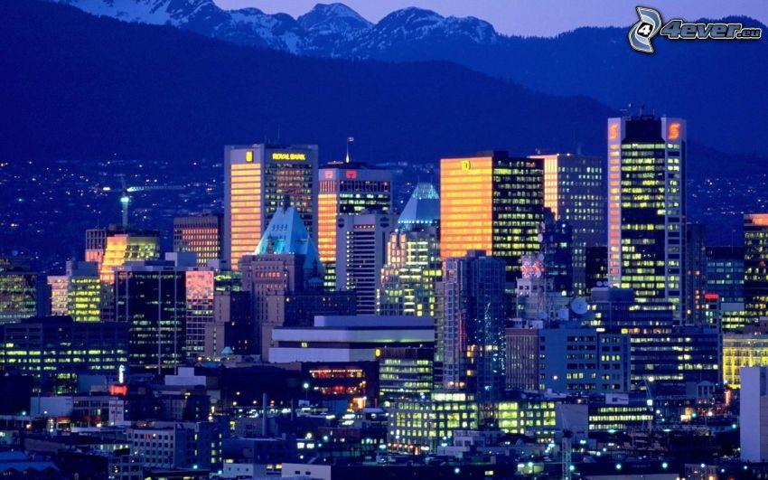 Vancouver, nočné mesto, mrakodrapy