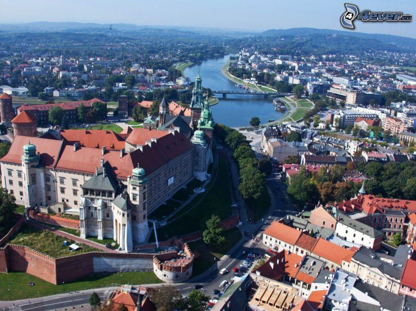 Wawelský hrad, Krakov, rieka, letecký pohľad