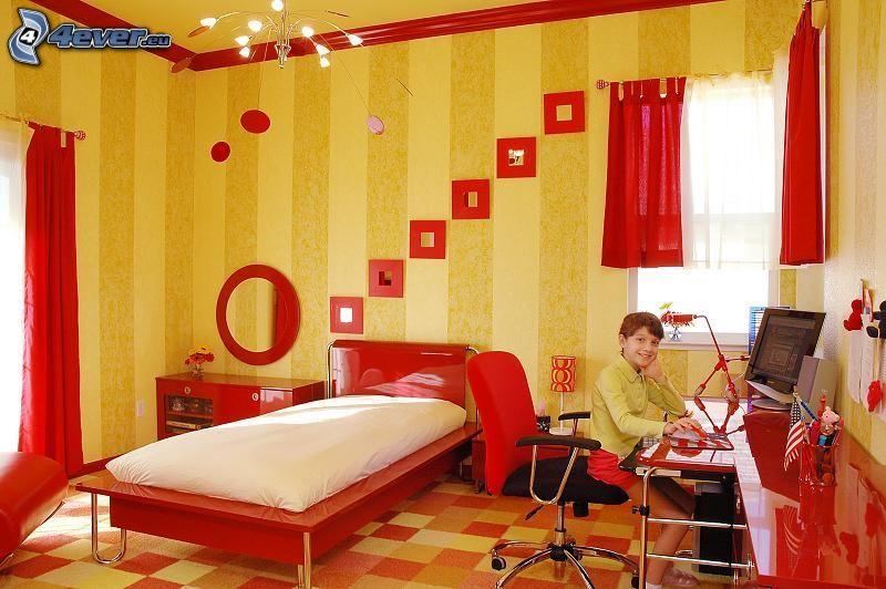 detská izba, chlapec, červená