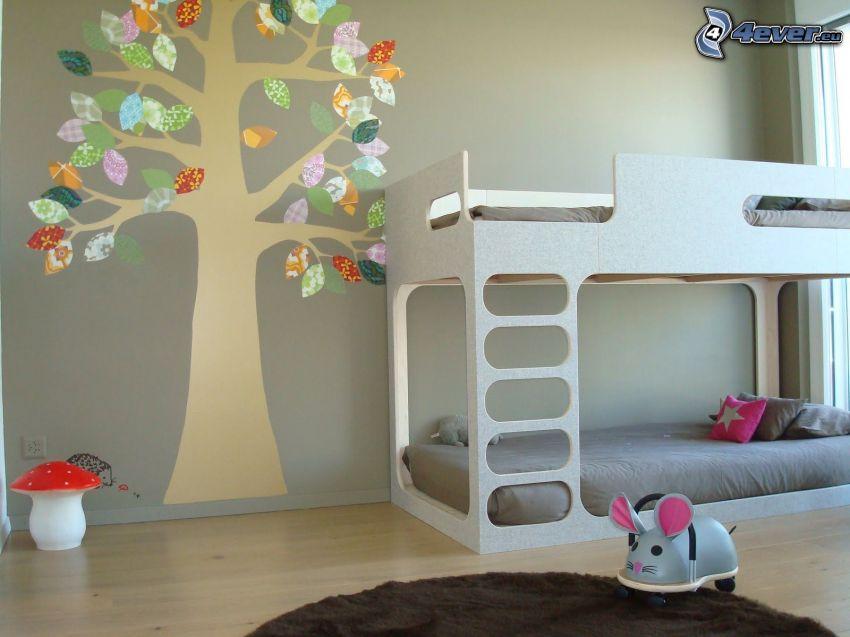 detská izba, posteľ, kreslený strom, muchotrávka červená