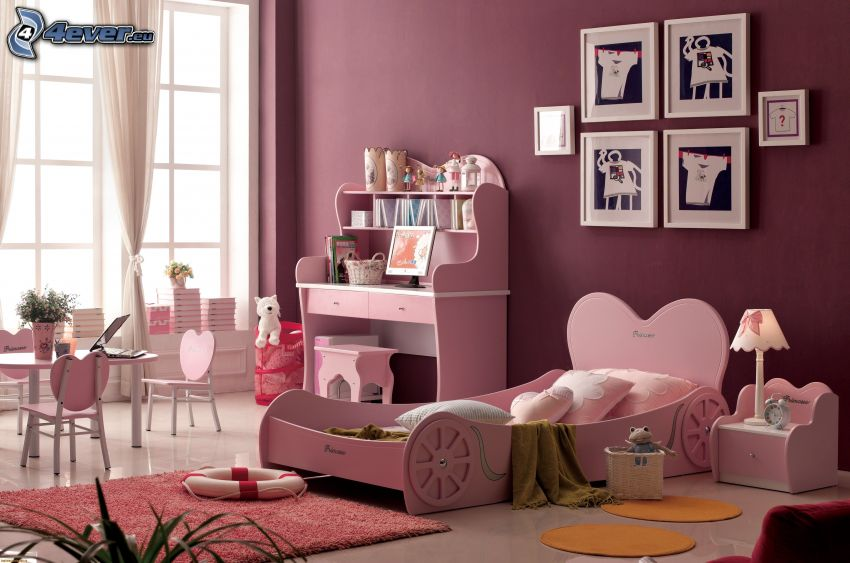 detská izba, posteľ, obrazy
