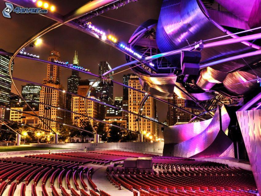 divadlo, nočné mesto