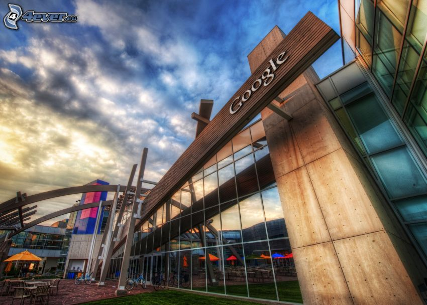 Google, moderná budova, HDR