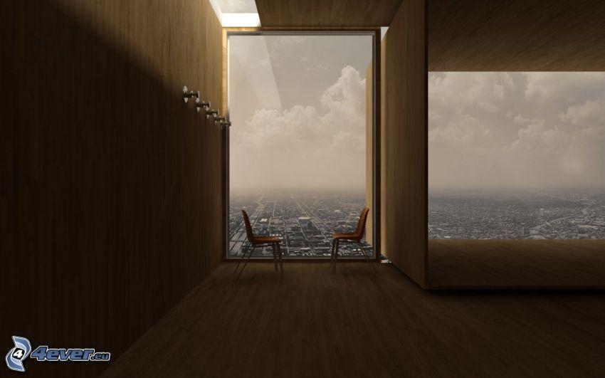 izba, stoličky, výhľad