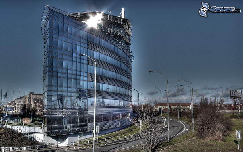kancelárska budova, cesta, obloha, HDR