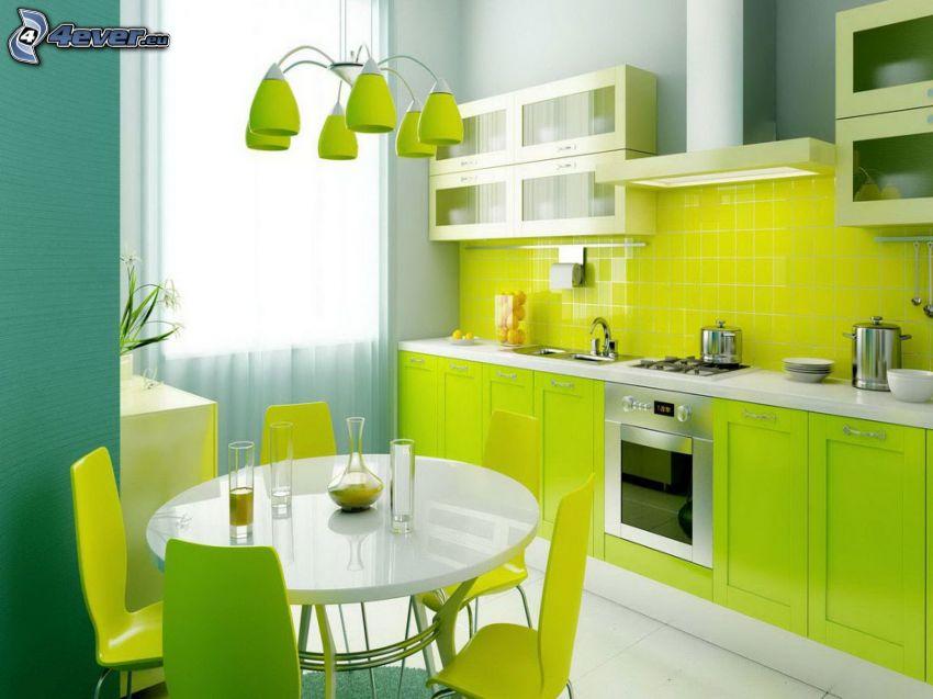kuchyňa, zelená